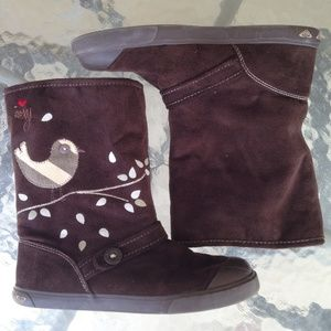 Roxy Delano Faux Suede Brown Birdy Boots size 6.5